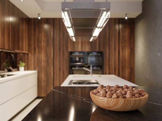 Appareils de cuisine modernes dans une cuisine intérieure contemporaine, rendu 3d.