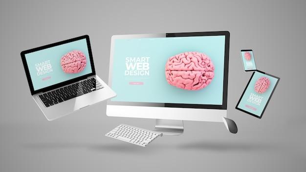 Appareils flottants montrant la conception de site web réactif intelligent rendu 3d