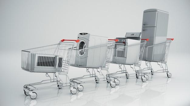 Appareils ménagers dans le panier concept de commerce électronique ou d'achat en ligne