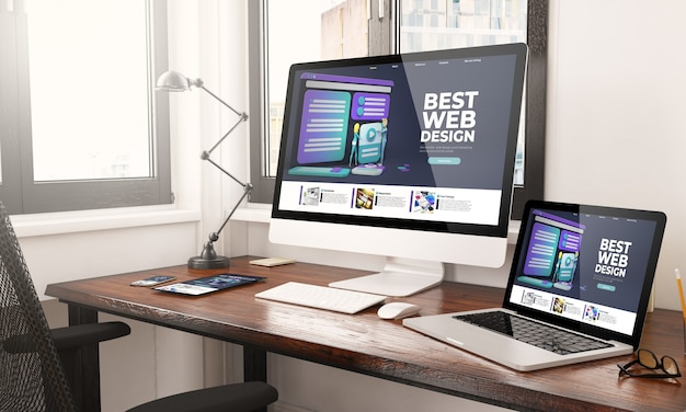 Appareils avec rendu 3d de bureau de conception web réactif