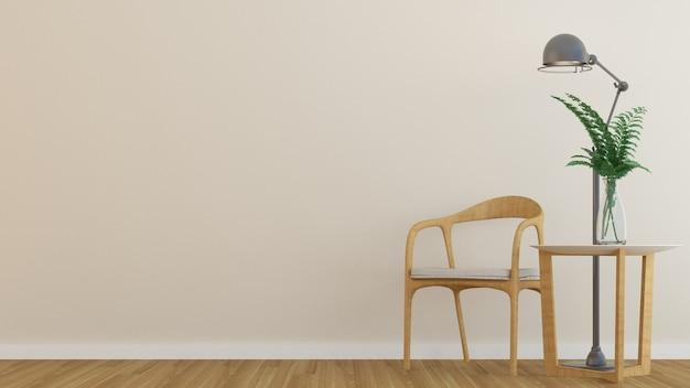 L'appartement intérieur relax espace rendu 3d et fond de décoration blanc