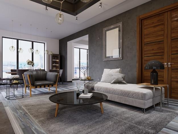 Appartement loft avec salon et salle à manger. rendu 3d.