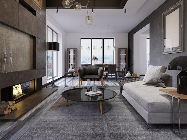 Appartement de luxe de style loft en duplex, mobilier contemporain et murs en briques avec cheminée design à l'intérieur, aménagement intérieur de style loft. rendu 3d