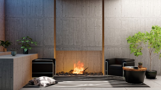 Appartement de salon loft rendu 3d avec cheminée et mur de ciment vide vierge
