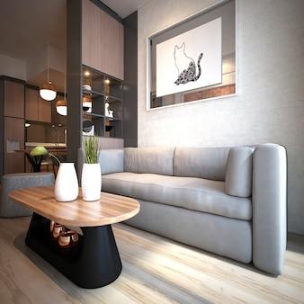 Appartement de salon minimalis moderne avec un design d'intérieur à motif de mur de briques