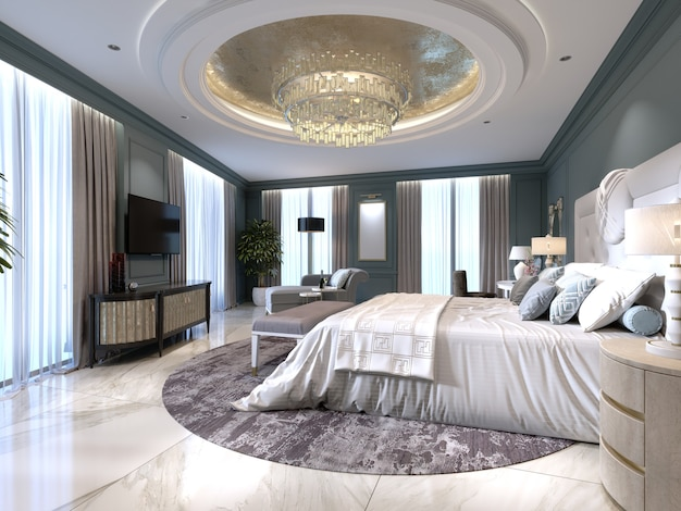 Appartements de luxe avec une chambre et un salon de style contemporain avec des éléments classiques, des murs bleus et des meubles clairs. rendu 3d