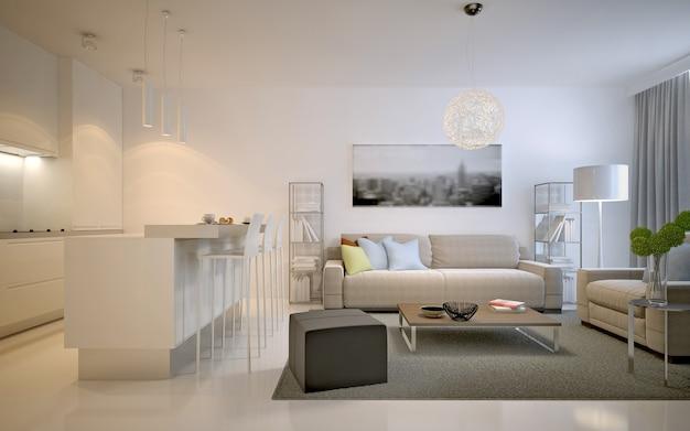 Appartements studios contemporains. solution spacieuse pour l'intérieur du studio de salon de couleur blanche. rendu 3d