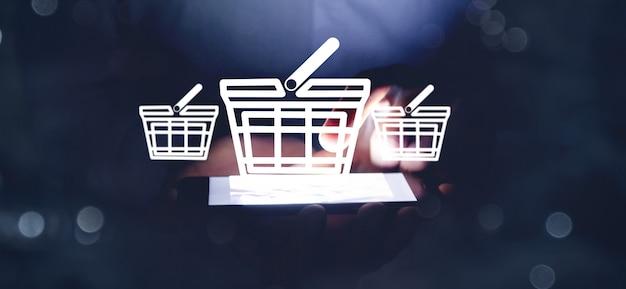 Application d'icône d'affaires de magasinage en ligne
