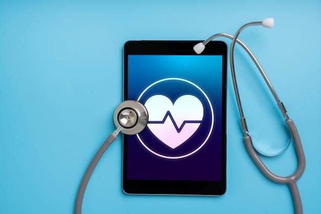 Application d'icônes de soins de santé en ligne sur un téléphone intelligent