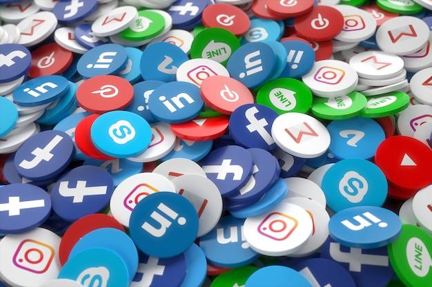 Application de médias sociaux 3d aléatoire