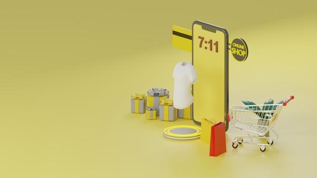 Application mobile de rendu 3d shopping concept en ligne.