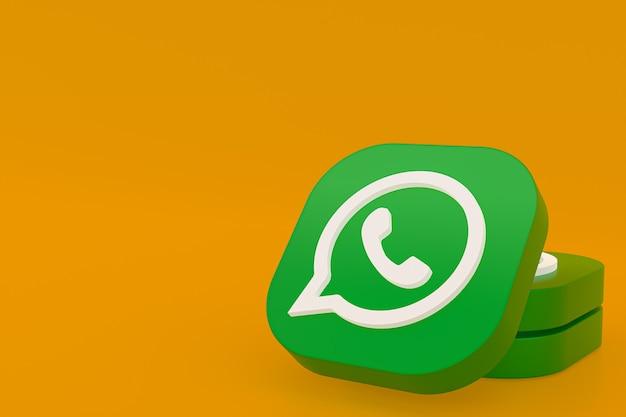 Application whatsapp icône du logo vert rendu 3d sur fond jaune