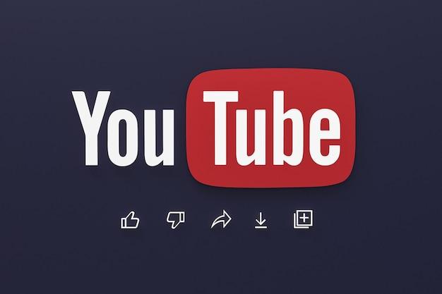 Application youtube 3d icônes de médias sociaux logo rendu 3d