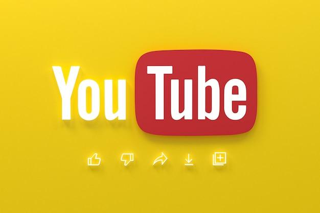 Application youtube 3d logo d'icônes de médias sociaux rendu 3d
