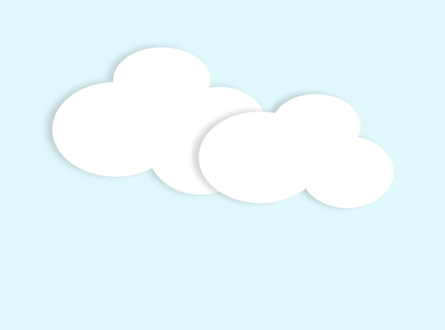 Applique avec des nuages blancs en papier sur fond bleu comme ciel, maquette découpée, notes vierges avec un espace pour le texte, dans le style appliqué