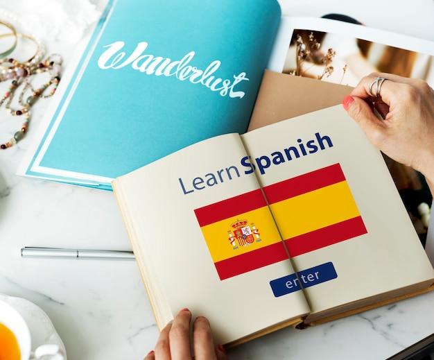 Apprendre l'espagnol en ligne education concept