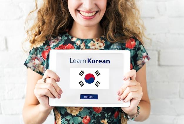 Apprendre la langue coréenne concept d'éducation en ligne