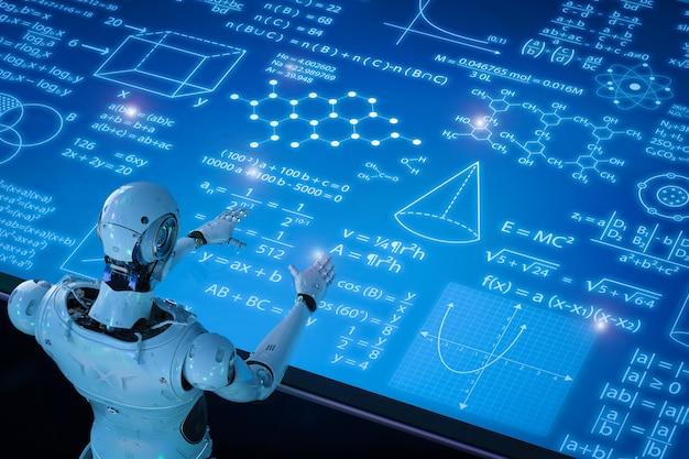Apprentissage de robot de rendu 3d ou apprentissage automatique avec interface hud d'éducation