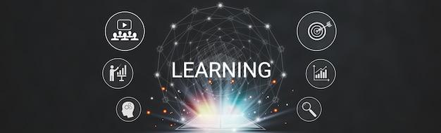 Apprentissage de la technologie éducative internet à domicile, taille de la bannière avec des icônes graphiques