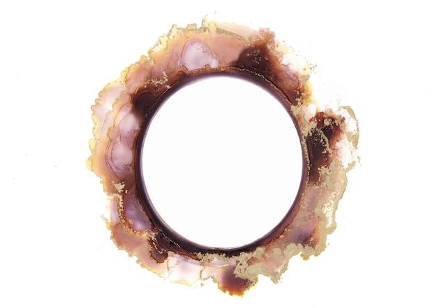 Aquarelle abstraite de brun et d'or, cercle, conception isolée de coups de pinceau d'encre