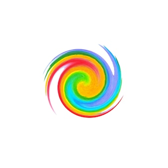 Aquarelle abstraite peinte à la main motif de courbe de cercle arc-en-ciel coloré, isolé sur fond blanc. fond de tache de couleur aquarelle.