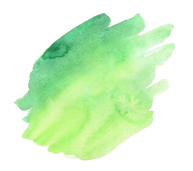 Aquarelle abstraite verte et jaune sur blanc. éclaboussures colorées sur papier.