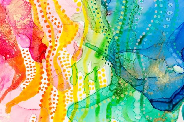 Aquarelle arc-en-ciel taches abstraites et points fond dégradé d'encre texture