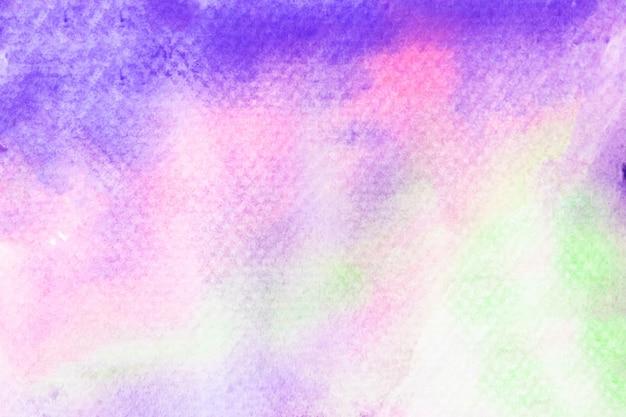 Aquarelle art abstrait vert violet rose peinture à la main sur fond blanc