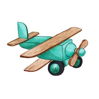 Aquarelle d'avion jouet enfants peint sur blanc