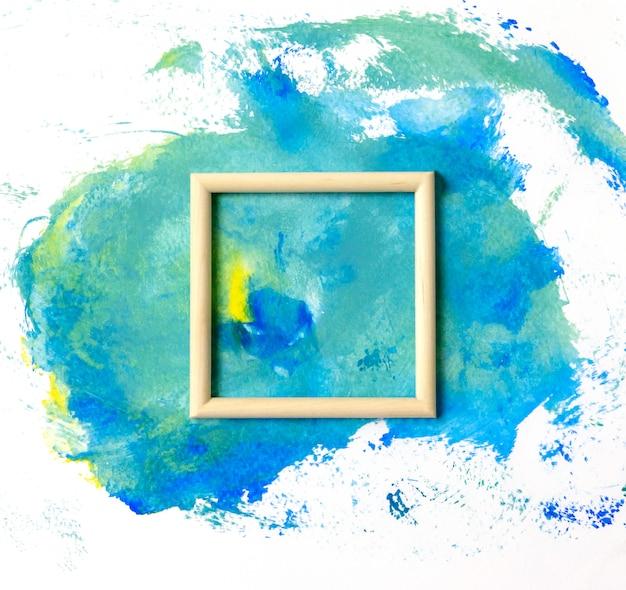 Aquarelle beau fond avec cadre en bois
