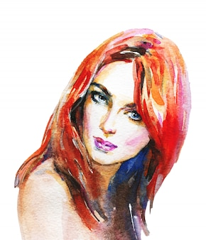 Aquarelle beauté jeune femme. portrait dessiné de main de tête de gingembre fille. illustration de mode de peinture sur blanc