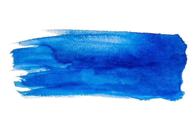Aquarelle bleue abstraite isolée sur fond blanc, peinture à la main sur papier.