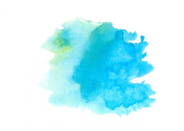 Aquarelle bleue tache fond de trait de peinture