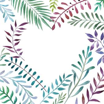 Aquarelle cadre botanique en forme de coeur