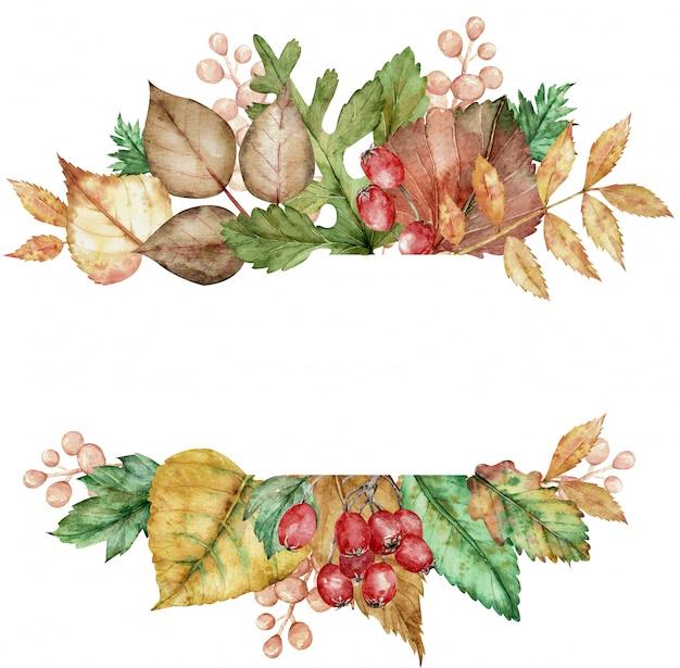 Aquarelle cadre avec un bouquet de feuilles