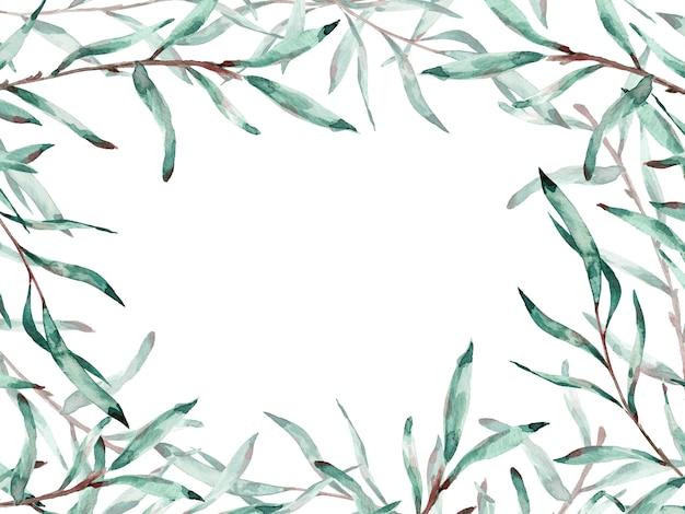 Aquarelle cadre de branches de saule avec espace copie. illustration.