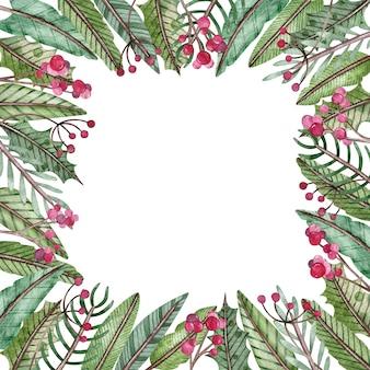 Aquarelle cadre carré noël et nouvel an
