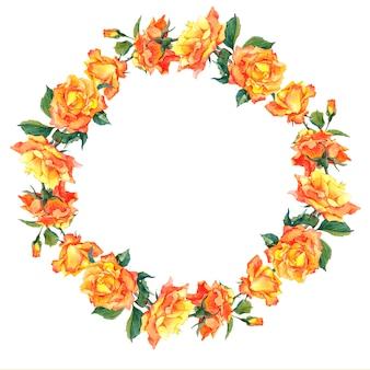 Aquarelle cadre rond avec roses jaunes