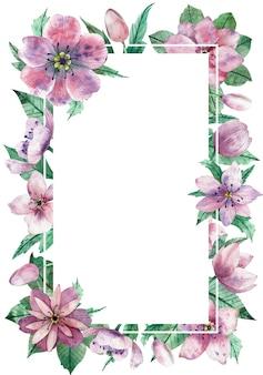 Aquarelle, cadre vertical floral avec l'espace de copie blanc central pour le texte