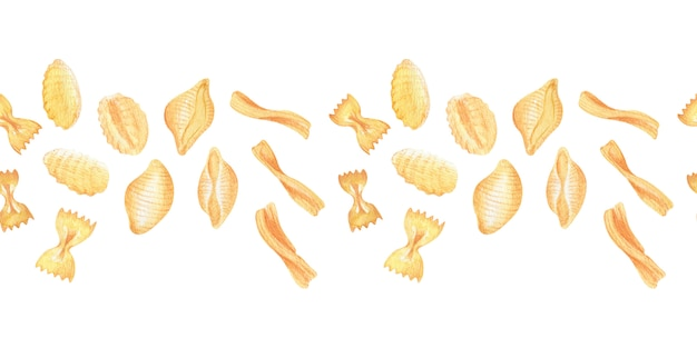 Aquarelle cadres et bordures pâtes italiennes