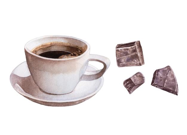 Aquarelle café noir, chocolat sur blanc.