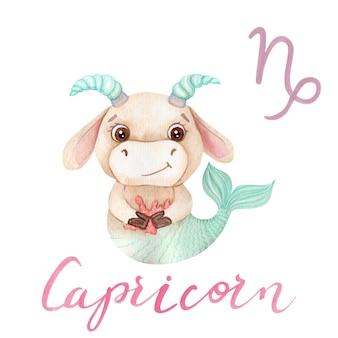 Aquarelle capricorne bull symbole zodiaque