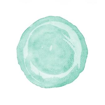 Aquarelle de cercle vert texturé sur blanc.