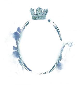 Aquarelle couronne cadre