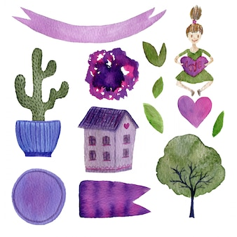 Aquarelle décoration avec cactus, maison, fille et autres éléments. collection aquarelle pour décorations ou stickers