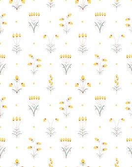 Aquarelle dessinés à la main modèle sans couture plante décorative fleur baies jaunes isolés sur blanc