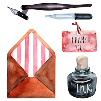 Aquarelle enveloppe, encre, étiquette de remerciement