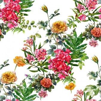 Aquarelle de feuilles et de fleurs, modèle sans couture sur blanc
