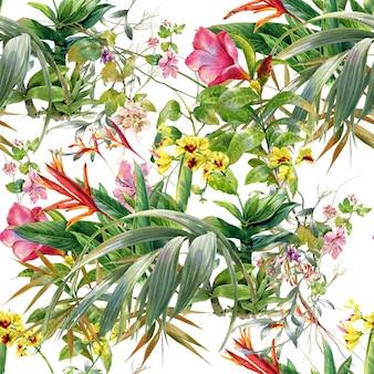 Aquarelle de feuilles et de fleurs, modèle sans couture sur fond blanc
