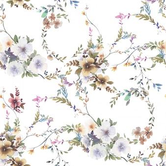 Aquarelle de feuilles et de fleurs, modèle sans couture